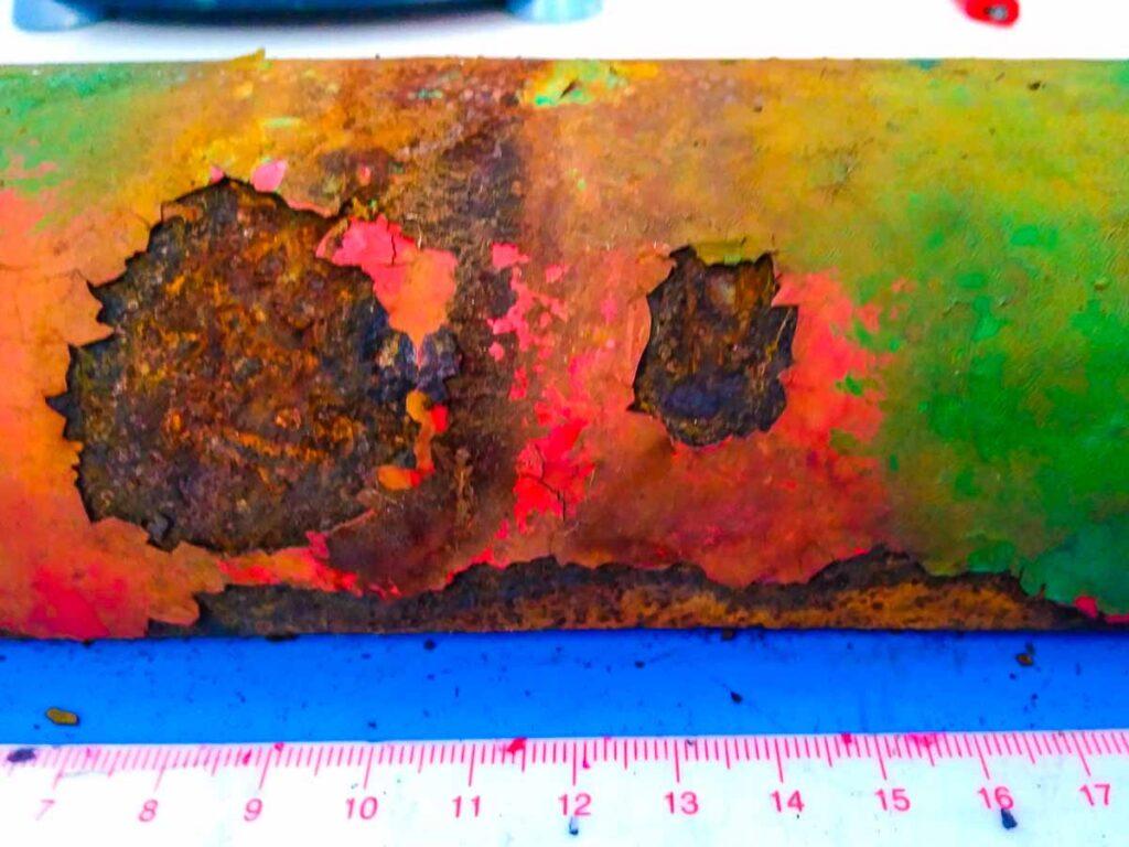 test corrosione su tubo verniciato MaterialScan Trieste